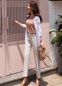 Double-Breasted Straight Leg Slacks, Styleonme