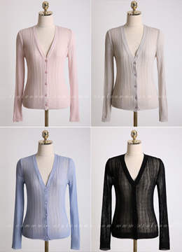 Summer V-Neck Ribbed Cardigan, Styleonme