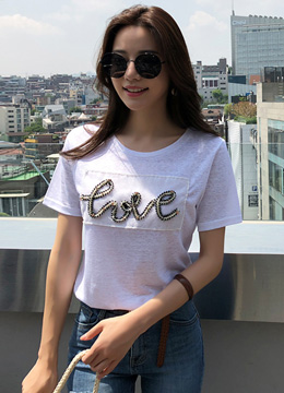 LOVE Beaded Lettering Linen Blend T-shirt, Styleonme