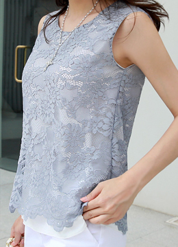 Blue Floral Lace Sleeveless Blouse, Styleonme