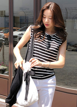 Stripe Sleeveless Top, Styleonme