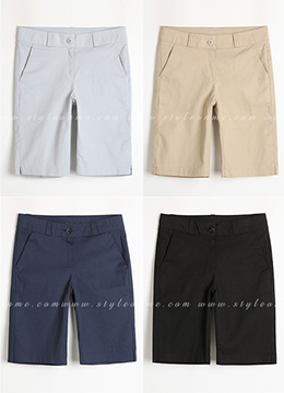 Basic Bermuda Cotton Shorts, Styleonme