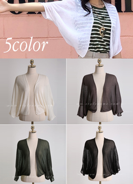 Sheer Dolman Sleeve Open-front Cardigan, Styleonme