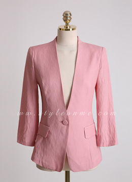 Single Button Collarless Slim Jacket, Styleonme