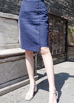Three Button Linen Pencil Skirt, Styleonme