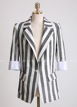 Pinstripe Roll-Up Sleeve Collared Jacket, Styleonme