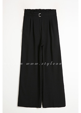 Pintuck Detail Belted Wide Leg Pants, Styleonme
