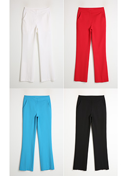 Side Slit Lightweight Boot-Cut Slacks, Styleonme