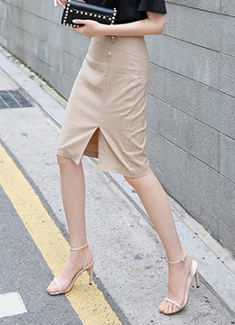 Front Slit Brooch Set Linen Pencil Skirt, Styleonme
