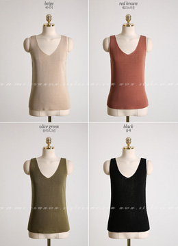 Simple V-Neck Knit Tee, Styleonme