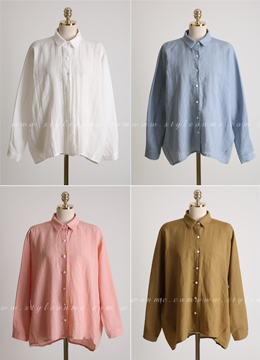 Loose Fit Back Button Detail Linen Collared Shirt, Styleonme