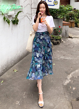 Botanical Print Wrap Frill Long Skirt , Styleonme
