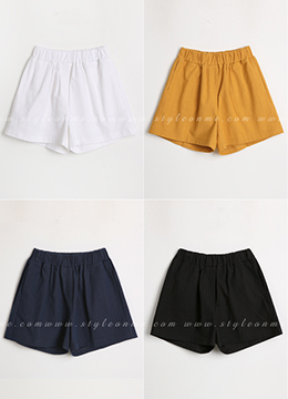 Basic Elastic Waist Band Shorts, Styleonme