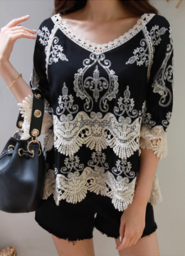 Lace Embroidered Blouse, Styleonme