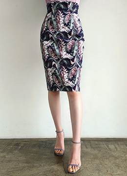 Tropical Print High-Waisted Pencil Skirt, Styleonme