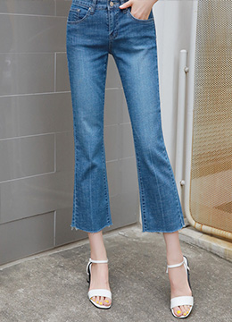 Frayed Hem Semi-Boot Cut Blue Jeans, Styleonme