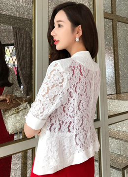 Floral Lace Half Sleeve Slim Fit Jacket, Styleonme