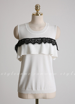 Shoulder Lace Trim Stripe Knit Tee, Styleonme