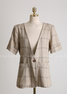 Check Print Short Sleeve Linen Jacket, Styleonme