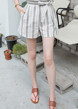Pinstripe High-Waisted Shorts, Styleonme