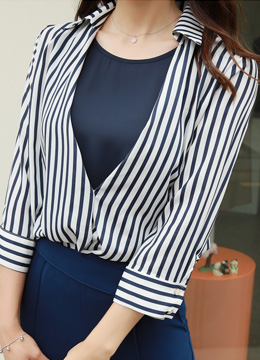 Pinstripe Wrap Collared Blouse, Styleonme