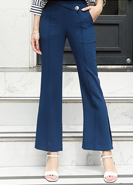 Silver Button Pintuck Detail Boot-Cut Slacks, Styleonme