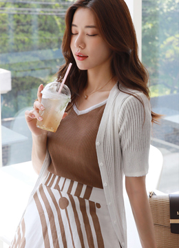 Short Sleeve V-Neck Ribbed Cardigan, Styleonme