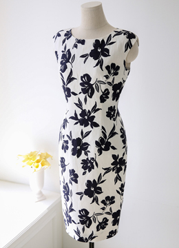 Floral Print Linen-Blend Dress, Styleonme