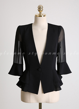 Sheer Bell Sleeve Collarless Jacket, Styleonme