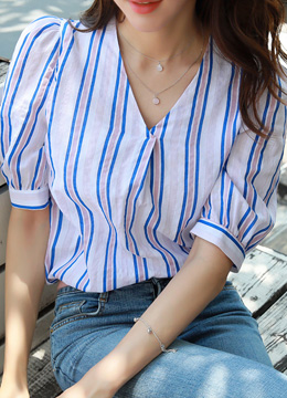 Color Pinstripe Puff Sleeve Blouse, Styleonme