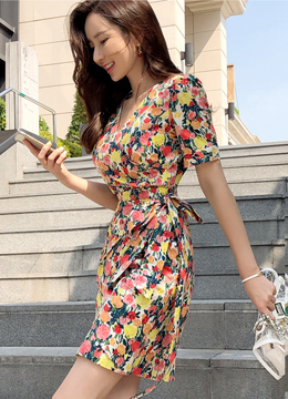Vivid Color Floral Print Wrap Dress, Styleonme
