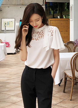Pearl Accent Neck Tie Lace Blouse, Styleonme