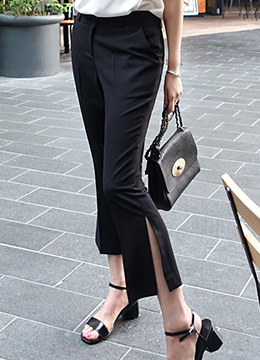 Side Slit Boot-Cut Pants, Styleonme