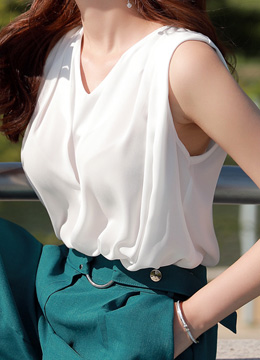 V-Neck Pintuck Shirred Sleeveless Blouse, Styleonme