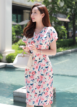 Romantic Rose Print Linen Slim Fit Dress, Styleonme
