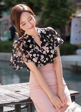 Summer Blossom Print Angel Sleeve Blouse, Styleonme