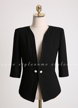Pearl Button Collarless Slim Fit Jacket, Styleonme