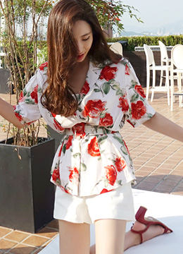 Rose Print Belted 2Way Blouse, Styleonme