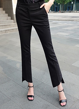 Diagonal Cut Hem Boot-Cut Slacks, Styleonme