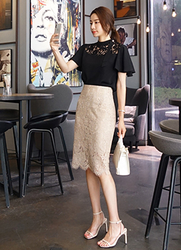 Floral Lace Pencil Skirt, Styleonme