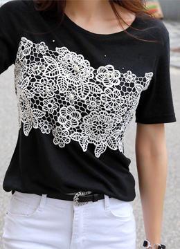 Pearl Accent Floral Lace Linen T-shirt, Styleonme