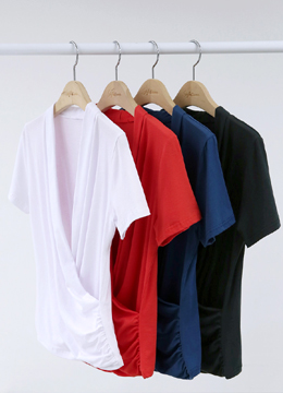 Wrap Shirred T-shirt, Styleonme