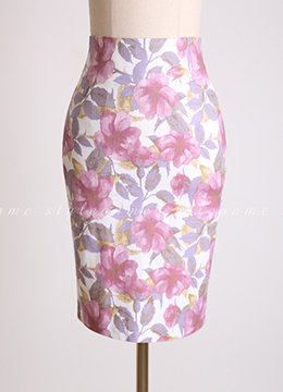 Floral Print High-Waisted Pencil Skirt, Styleonme
