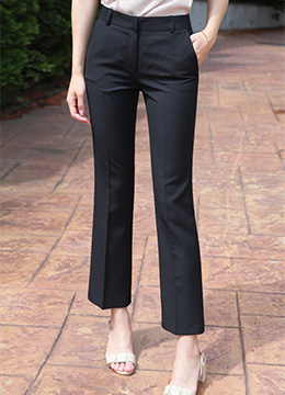 Back Elastic Band Semi-Boot Cut Slacks, Styleonme
