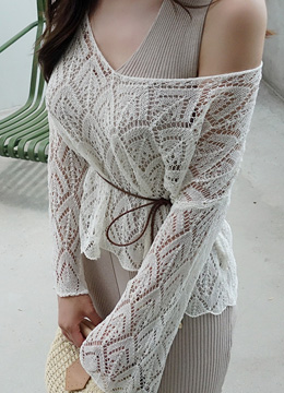 Bell Sleeve Front Slit See-through Knit Top, Styleonme