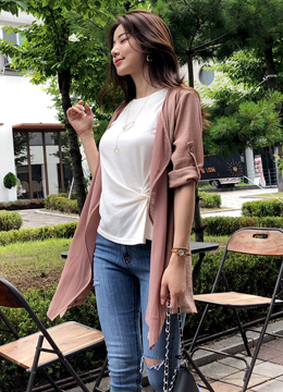 Back Slit Roll-Up Sleeve Chiffon Jacket, Styleonme