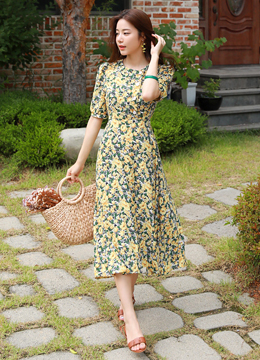 Floral Print Puff Sleeve Long Dress, Styleonme