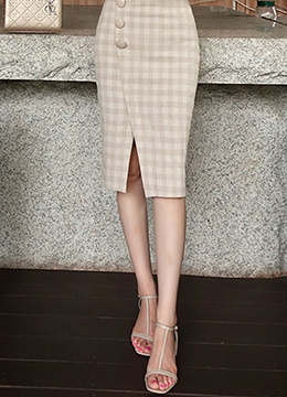 Check Print Side Button Linen Pencil Skirt, Styleonme