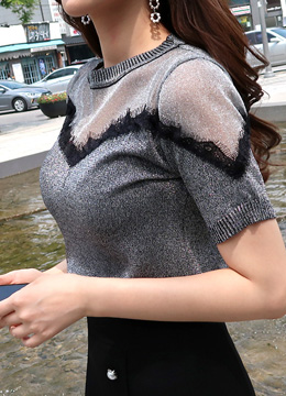 See-through Shoulder Metallic T-shirt, Styleonme