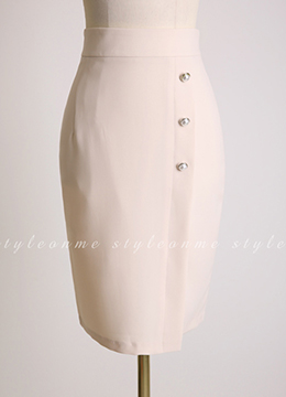 Pearl Button Wrap H-Line Skirt, Styleonme